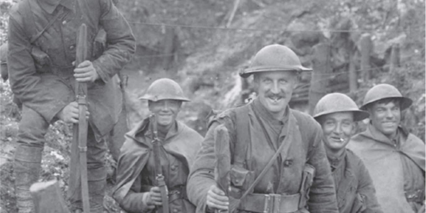 British troops looking more relaxed on the front line, in World War 1