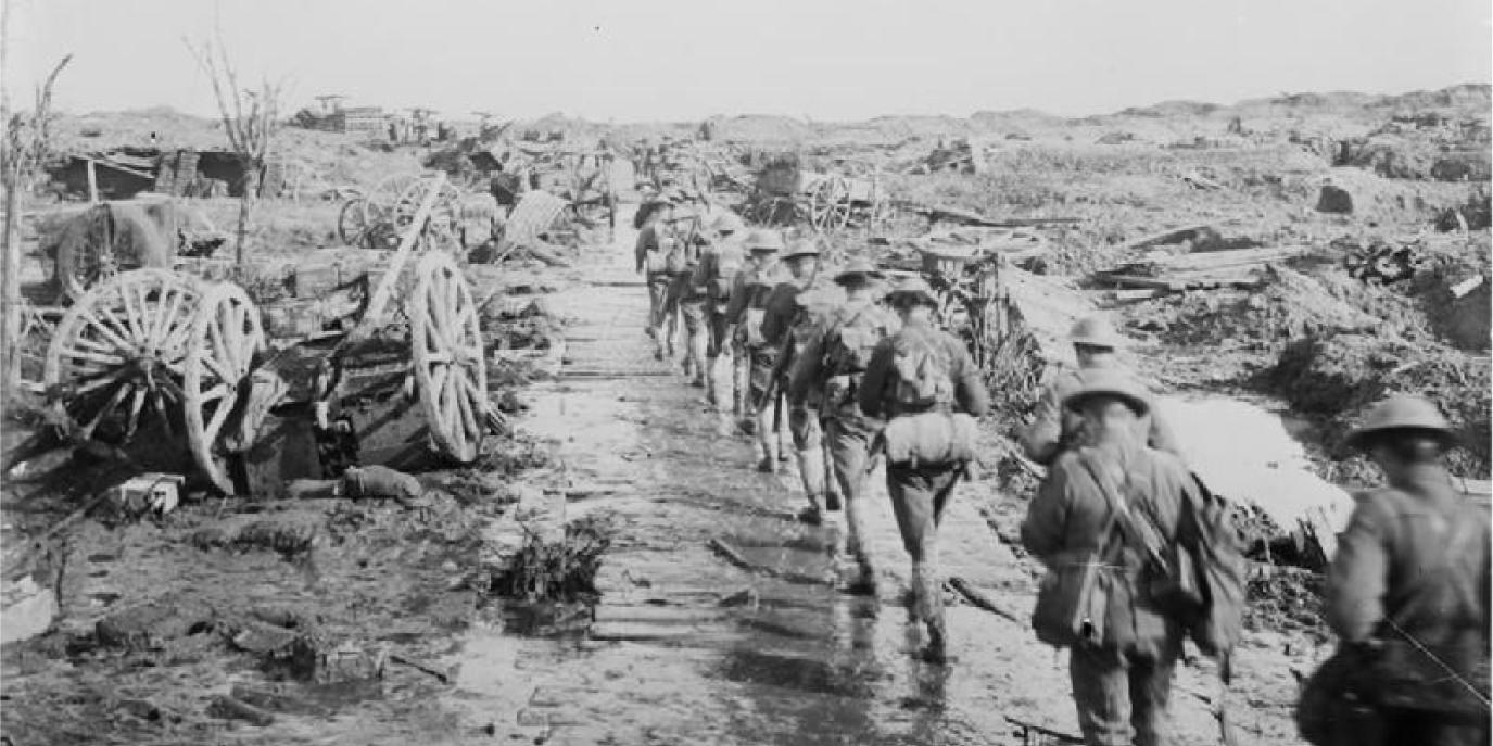 Allied troops marching on the front line in the First World War